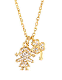 Fashion Golden Girl Love Heart Necklace With Diamonds
