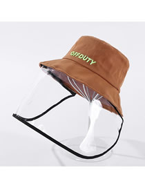 Fashion Caramel Colour Anti-foam Removable Letter Embroidered Cotton Fisherman Hat