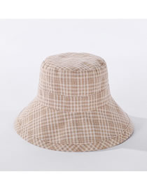 Fashion Beige Checkered Foldable Fisherman Hat
