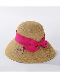 Fashion Rose Red Straw Bow Encryption Straw Hat