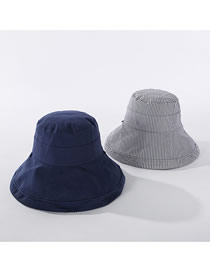 Fashion Navy Striped Fisherman Hat On Both Sides