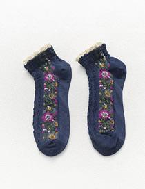 Fashion Navy Lace Floral Stitching Cotton Socks