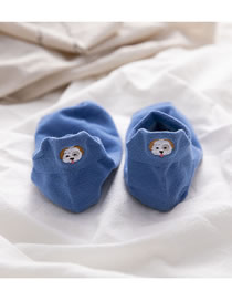 Fashion Blue Heel Puppy Embroidered Cotton Socks