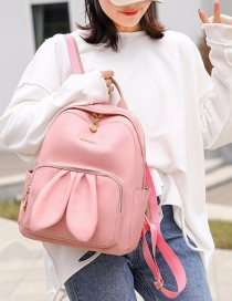 Fashion Pink Rabbit Ears Logo Contrast Backpack