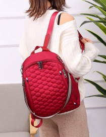 Fashion Red Embroidered Diamond Double Zipper Backpack