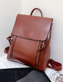 Fashion Red-brown Flap-knotted Stitched Soft-faced Backpack