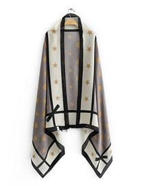 Fashion Gray Love Star Print Stitching Contrast Shawl Sun Towel