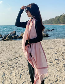 Fashion Light Pink Large Border Plain Dispersive Contrast Scarf