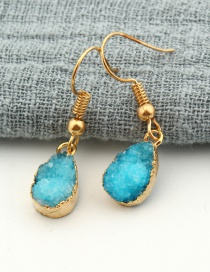 Fashion Blue Water Drop Natural Stone Alloy Earrings