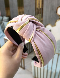 Fashion Light Pink Stitched Phnom Penh Fabric Knotted Wide Edge Hair Band