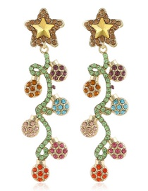 Fashion Color Flower Pentagram Long Alloy Earrings With Diamonds