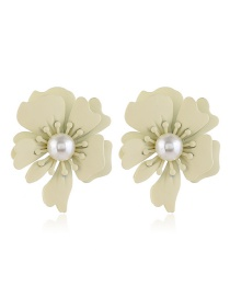 Fashion White Pearl Rose Alloy Earrings