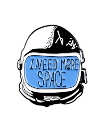 Fashion Blue I Need More Space Astronaut Enamel Backpack Clothes Badge