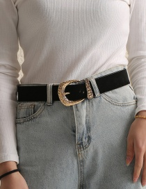 Fashion Black Pu Leather Alloy Belt Buckle Irregular Uneven Surface Belt