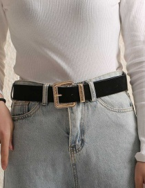 Fashion Black Suede Alloy Geometric Diamond Belt