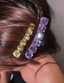 Fashion Purple + Yellow Resin Crystal Brooch Hair Clip Dual Use