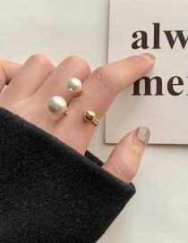 Fashion Golden Pearl Open Alloy Hollow Ring