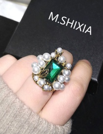 Fashion Green Emerald And Pearl Openwork Faceted Ring