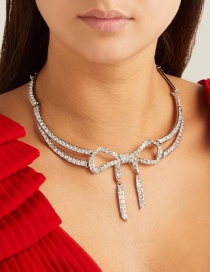 Fashion Silver Bow Knot Diamond Necklace