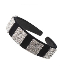 Fashion Black Full Diamond Hand-stitched Wide-edge Hair Hoop