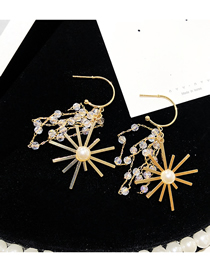 Fashion Golden Firework Pearl Faceted Crystal Bead Long Tassel Earrings