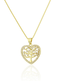Fashion Gold-plated White Zirconium Hollow Large Tree Micro Copper Inlaid Zircon Necklace