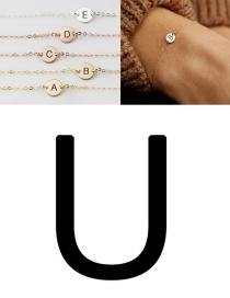 Fashion Rose Gold-u (6mm) Stainless Steel Engraved Geometric Bracelet