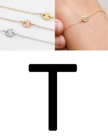 Fashion Golden-t (6mm) Bump Stainless Steel Engraved Geometric Round Bracelet