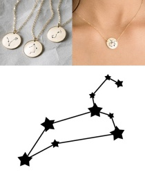 Fashion Golden-leo (13mm) Stainless Steel Geometric Round Engraved Constellation Necklace