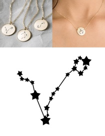 Fashion Golden-pisces (13mm) Stainless Steel Geometric Round Engraved Constellation Necklace