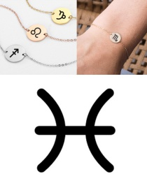 Fashion Golden-pisces (13mm) Gold-plated Geometric Round Stainless Steel Engraved Constellation Bracelet