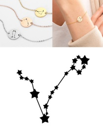 Fashion Rose Gold-pisces (13mm) Round Stainless Steel Gilt Engraved Constellation Bracelet