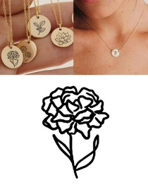 Fashion Steel Color January (9mm) Engraved Plant Flower Stainless Steel Geometric Round Necklace