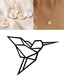 Fashion Rose Gold-woodpecker Stainless Steel Carved Animal Geometric Round Titanium Steel Necklace 9mm