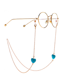Fashion Golden Color-preserving Non-fading Peach Heart Turquoise Glasses Chain