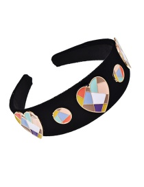 Fashion Black Fabric Alloy Color Matching Dripping Oil Love Hair Hoop