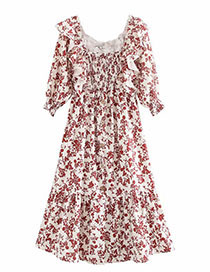 Fashion Photo Color Floral Print Pleated Dress