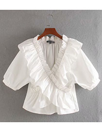 Fashion Photo Color Stacked Ruffled V-neck Shirt