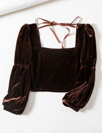 Fashion Brown Square-collar Stretch Cropped Umbilical Lace Shirt