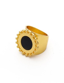 Fashion Drip Oil Black Alloy Hollow Disc Ring