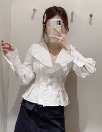 Fashion White Ruffled Pleated X-shirt