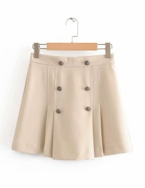 Fashion Beige Pleated Double-breasted Skirt