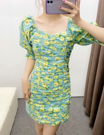 Fashion Green Floral Pattern Square Neck Pleated Dress