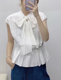Fashion White Bow Pleated Poplin Shirt