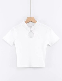 Fashion White Plated Cutout T-shirt