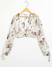 Fashion White Flower Print Shirt