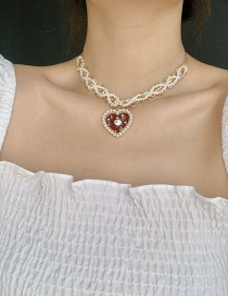 Fashion Red Weaving Pearl Love Necklace