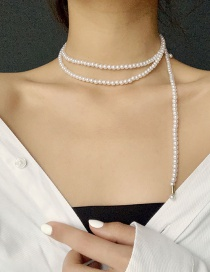 Fashion White Pearl Stack Necklace