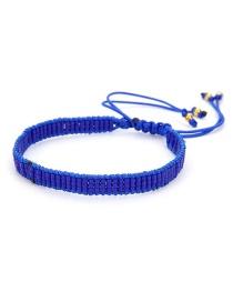 Fashion Blue Eye Crystal Tassel Rice Bead Braided Leopard Bracelet
