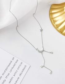 Fashion Silver Zircon Moon Tassel Necklace